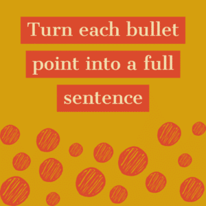 Turn points into a full sentence